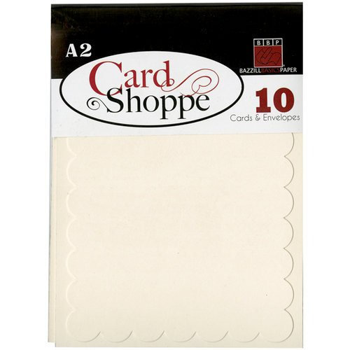 Bazzill - Card Shoppe - Cards and Envelopes - 10 Pack - A2 Scallop - Butter Mints