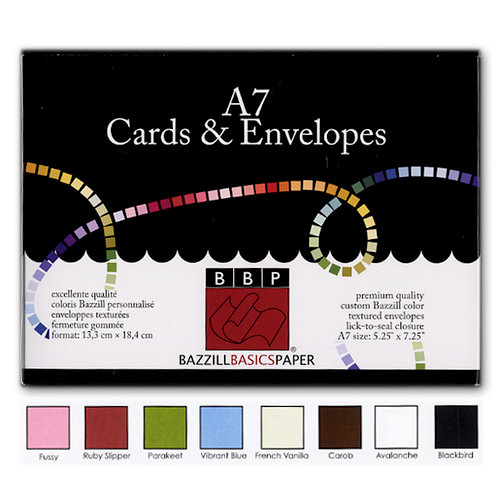 Bazzill Basics - Cards and Envelopes - 45 Pack - A7