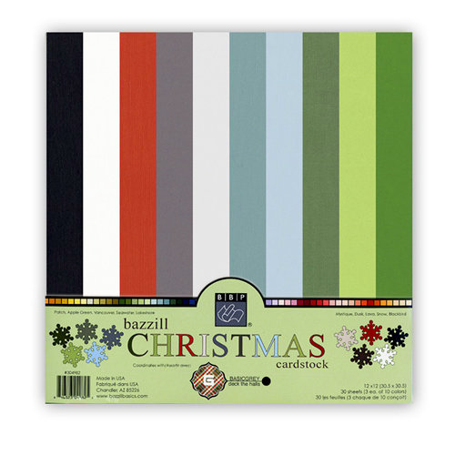 Bazzill Basics - BasicGrey - 12 x 12 Christmas Cardstock Pack - 30 Sheets, CLEARANCE