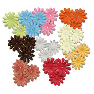 Bazzill Basics - Bitty Blossoms Flowers - Approximately 100 Pieces - Mixed