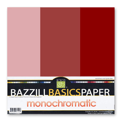 Bazzill - Monochromatic Trio Packs - 12x12 - Pomegranate