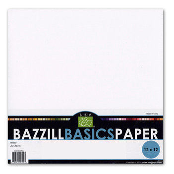 Bazzill Basics - Bulk Textured Cardstock Pack - 25 Sheets - 12 x 12 - White