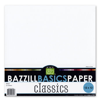 Bazzill Basics - Bulk Cardstock Pack - 25 Sheets - 12 x 12 - White