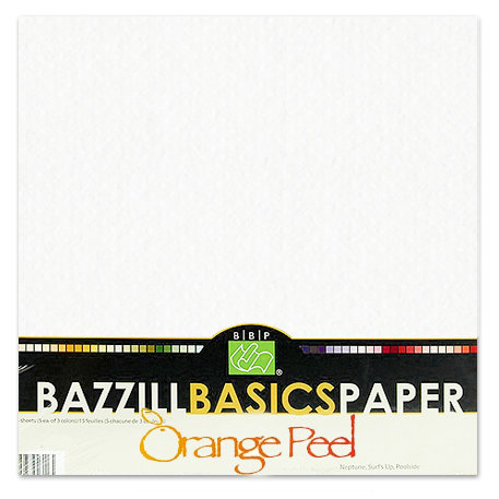 Bazzill - Bulk Cardstock Pack - Orange Peel Texture - 25 Sheets - 12x12 White