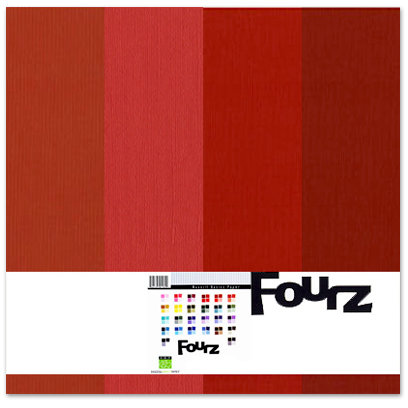 Bazzill - Fourz Multi-Packs - 12 x 12 - True Red