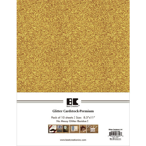Best Creation Inc - A4 Glitter Cardstock Packs - Gold