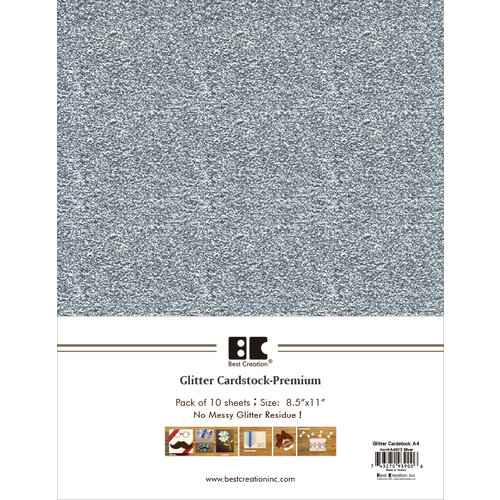 Best Creation Inc - A4 Glitter Cardstock Packs - Silver