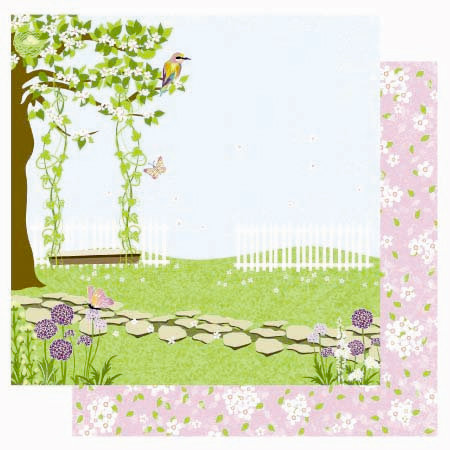 Best Creation Inc - A Walk in the Garden Collection - 12 x 12 Double Sided Glitter Paper - Swing and Sing