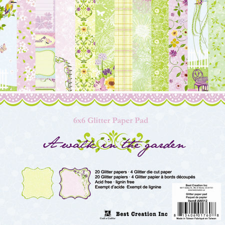 Best Creation Inc - A Walk in the Garden Collection - 6 x 6 Glittered Paper Pad