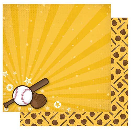 Best Creation Inc - Baseball Collection - 12 x 12 Double Sided Glitter Paper - Play Ball