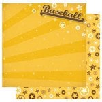 Best Creation Inc - Baseball Collection - 12 x 12 Double Sided Glitter Paper - Baseball
