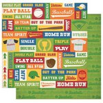 Best Creation Inc - Baseball Collection - 12 x 12 Double Sided Glitter Paper - Spirit