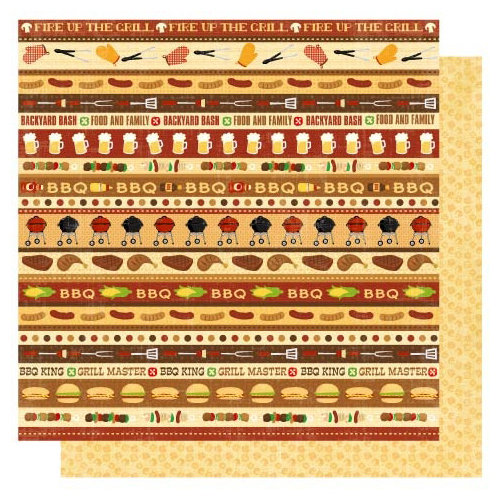 Best Creation Inc - Barbeque Collection - 12 x 12 Double Sided Glitter Paper - Barbeque Bash