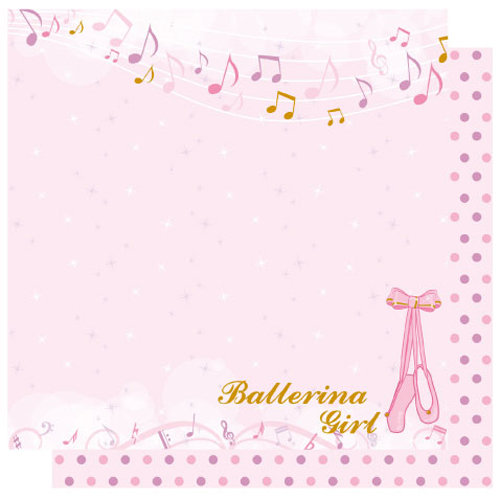 Best Creation Inc - Ballet Princess Collection - 12 x 12 Double Sided Glitter Paper - On Your Toes