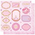 Best Creation Inc - Ballet Princess Collection - 12 x 12 Double Sided Glitter Paper - Ballet Love