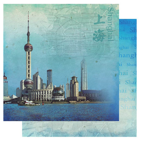 Best Creation Inc - China Collection - 12 x 12 Double Sided Glitter Paper - Shanghai