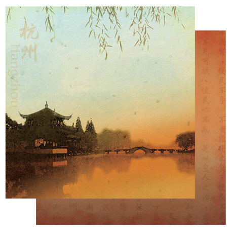 Best Creation Inc - China Collection - 12 x 12 Double Sided Glitter Paper - Hangzhou