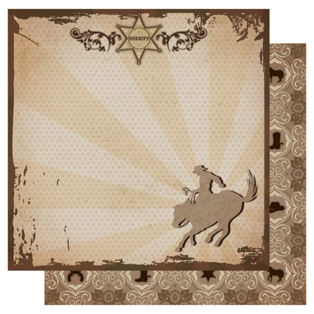 Best Creation Inc - Cowboy Collection - 12 x 12 Double Sided Glitter Paper - Sheriff