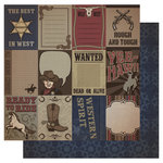 Best Creation Inc - Cowboy Collection - 12 x 12 Double Sided Glitter Paper - Cowboy Tags