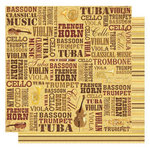 Best Creation Inc - Classical Music Collection - 12 x 12 Glittered Paper - Classical Music Words