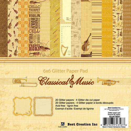 Best Creation Inc - Classical Music Collection - 6 x 6 Glitter Paper Pad