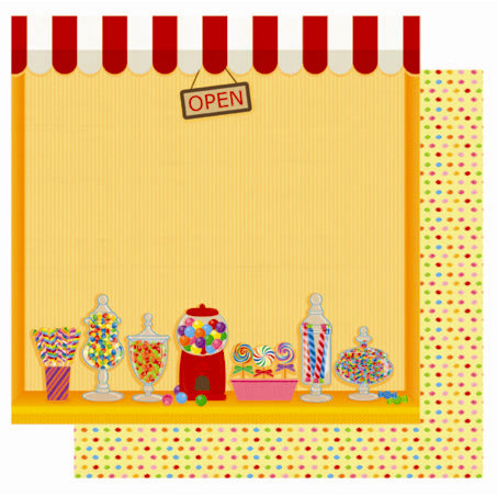 Best Creation Inc - Candy Shop Collection - 12 x 12 Double Sided Glitter Paper - I Love Candy Shop