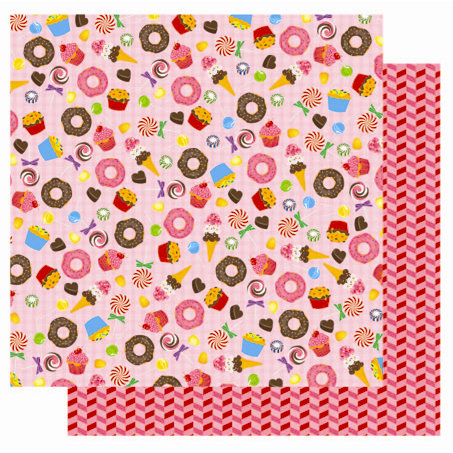 Best Creation Inc - Candy Shop Collection - 12 x 12 Double Sided Glitter Paper - Sweet Tooth
