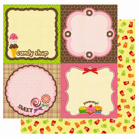 Best Creation Inc - Candy Shop Collection - 12 x 12 Double Sided Glitter Paper - Yum Paper