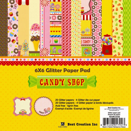 Best Creation Inc - Candy Shop Collection - 6 x 6 Glittered Paper Pad