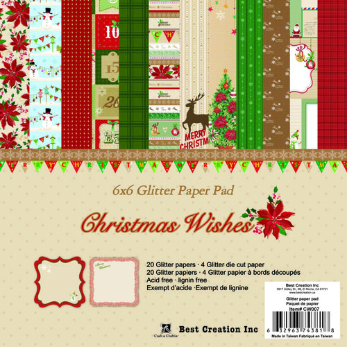 Best Creation Inc - Christmas Wishes Collection - 6 x 6 Glitter Paper Pad
