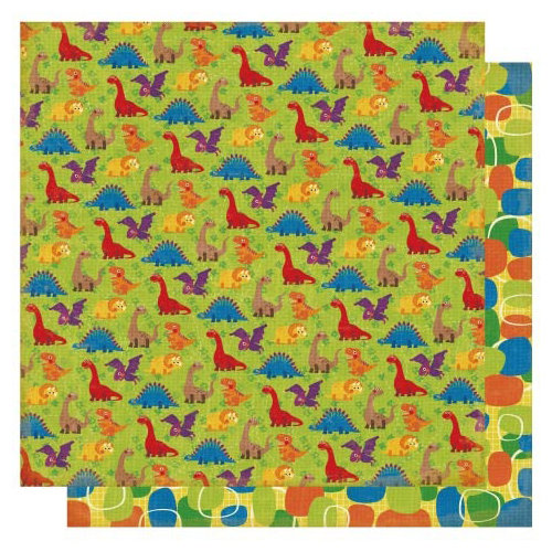 Best Creation Inc - Dinosaur Collection - 12 x 12 Double Sided Glitter Paper - Dinosaurs