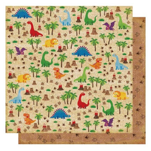 Best Creation Inc - Dinosaur Collection - 12 x 12 Double Sided Glitter Paper - I Love Dinos