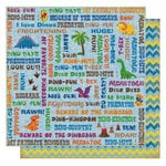 Best Creation Inc - Dinosaur Collection - 12 x 12 Double Sided Glitter Paper - Dinosaur Words