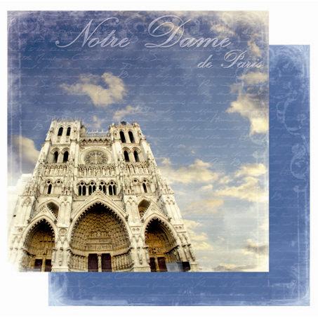 Best Creation Inc - Europe Collection - 12 x 12 Double Sided Glitter Paper - Notre Dame de Paris
