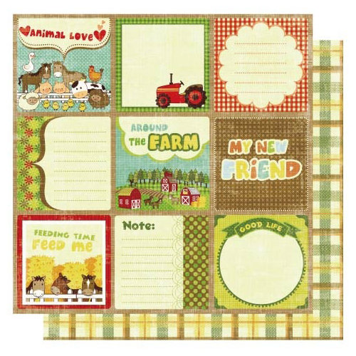 Best Creation Inc - Farm Life Collection - 12 x 12 Double Sided Glitter Paper - Farm Journal