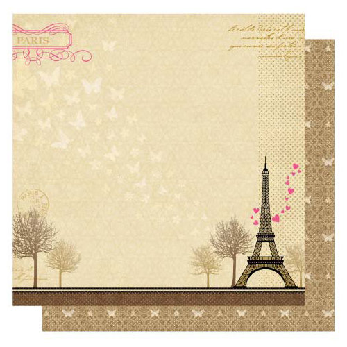 Best Creation Inc - Go Paris Collection - 12 x 12 Glittered Paper - Eiffel Tower