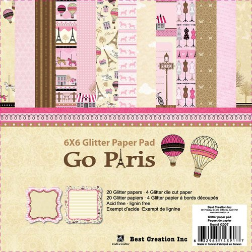 Best Creation Inc - Go Paris Collection - 6 x 6 Glitter Paper Pad