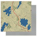 Best Creation Inc - Gone Camping Collection - 12 x 12 Double Sided Glitter Paper - Trail Map