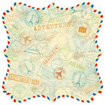 Best Creation Inc - Travel Forever Collection - 12 x 12 Die Cut Glitter Paper - Stamp it Airmail