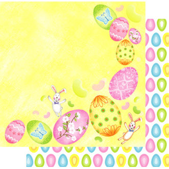 Best Creation Inc - Easter Moment Collection - 12 x 12 Double Sided Glitter Paper - Coloring Eggs