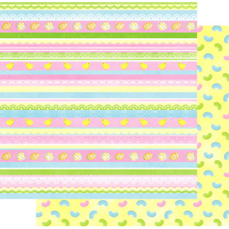 Best Creation Inc - Easter Moment Collection - 12 x 12 Double Sided Glitter Paper - Easter Stripes and Chicks