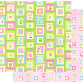 Best Creation Inc - Easter Moment Collection - 12 x 12 Double Sided Glitter Paper - Sweet Bunny Square
