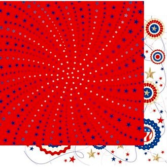 Best Creation Inc - Happy Fourth Day Collection - 12 x 12 Double Sided Glitter Paper - Amazing Stars