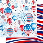 Best Creation Inc - Happy Fourth Day Collection - 12 x 12 Double Sided Glitter Paper - Flying the Red White and Blue