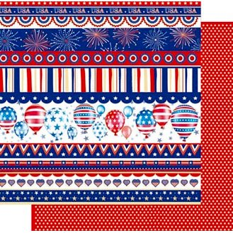 Best Creation Inc - Happy Fourth Day Collection - 12 x 12 Double Sided Glitter Paper - America United