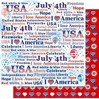 Best Creation Inc - Happy Fourth Day Collection - 12 x 12 Double Sided Glitter Paper - I Love America