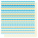Best Creation Inc - Water Fun Collection - 12 x 12 Double Sided Glitter Paper - Pool Scallop Stripes