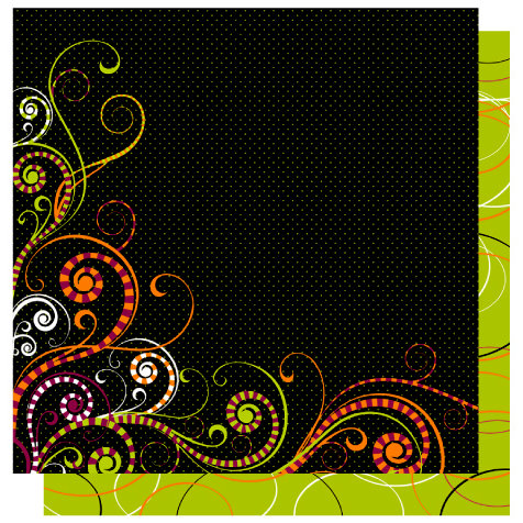 Best Creation Inc - Trick or Treat Collection - 12 x 12 Double Sided Glitter Paper - Witch's Swirls