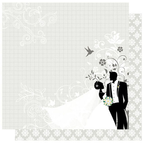 Best Creation Inc - Mr. and Mrs. Collection - 12 x 12 Double Sided Glitter Paper - Mr. and Mrs.
