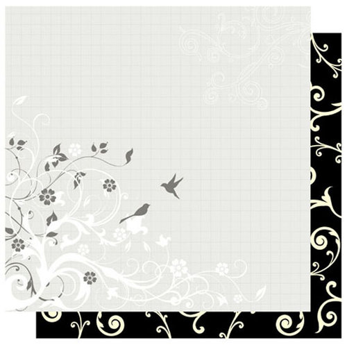 Best Creation Inc - Mr. and Mrs. Collection - 12 x 12 Double Sided Glitter Paper - Swirl and Bird